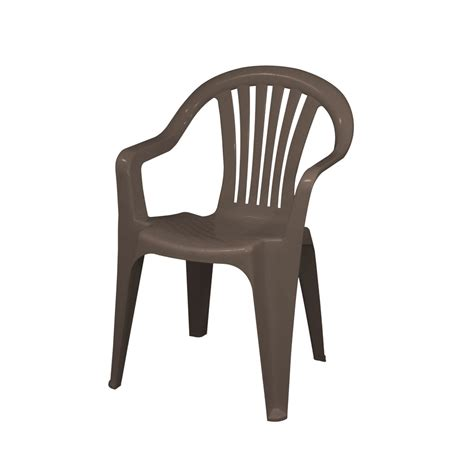 Plastic Patio Chairs Shop Gracious Living Brown Slat Seat Resin Stackable Patio Dining Chair At Lowes