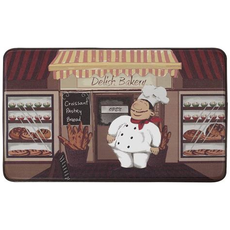 chef rugs for kitchen chef gear happy chef 18 in x 30 in faux leather comfort kitchen mat ymk001872 the home depot
