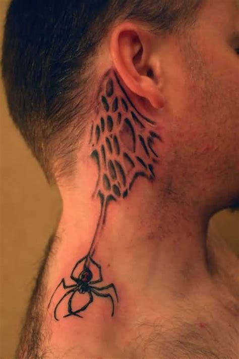 Spider Web Tattoo Behind Ear | ear men tattoo ideas and ear men tattoo designs