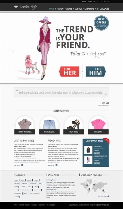 jm fashion trends joomla template for clothing garments