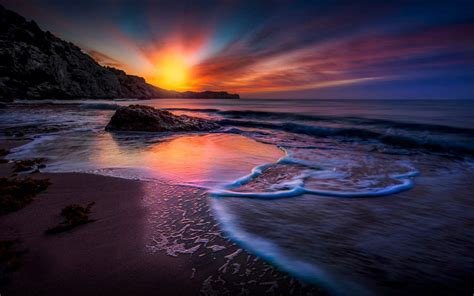 magically sunset sky  red cloud beach sea waves hd