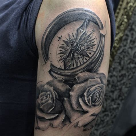 compass blackandgrey tattoos realism on instagram