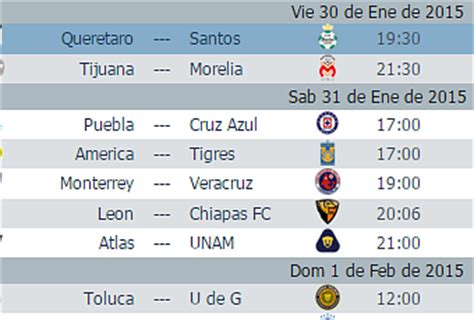 Jornada 4 Calendario Calendario Juegos Jornada 4 Futbol Mexicano Clausura 2015