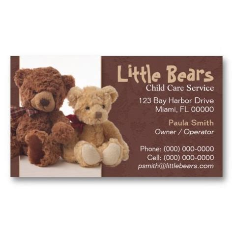 Teddy Card Template by 17 Best Images About Child Care Business Cards On