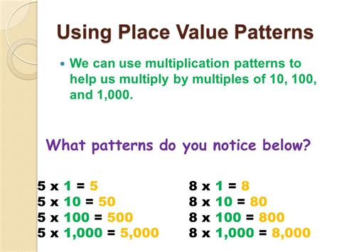 what pattern do you notice in your answers multiplying and dividing greater numbers ppt video