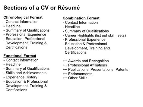 sections of a cv effective cv resume writing