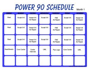 printable power 90 workout calendar print a workout calendar
