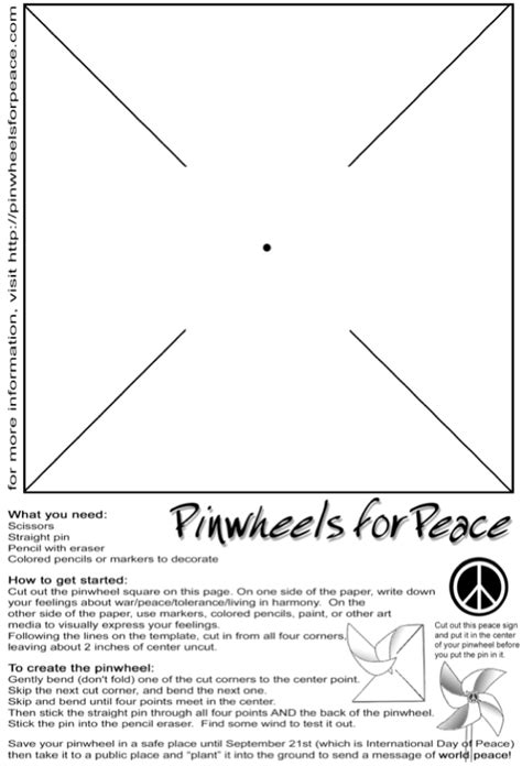 printable pinwheel instructions september 21 sept 21st peace projects peace lessons