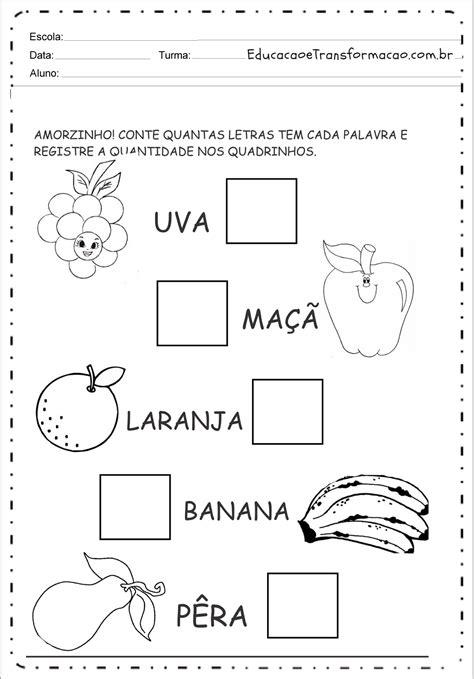 Conte as Letras das Palavras - Atividades de Alimentação