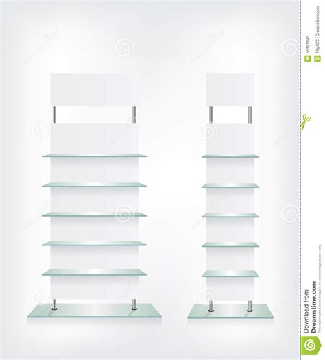 scaffali in vetro scaffali di vetro negozio bianchi illustrazione