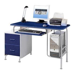 Kmart Computer Desk Techni Mobili Contempo 52 Quot W Computer Desk With Drawers Blue Silver Home Furniture