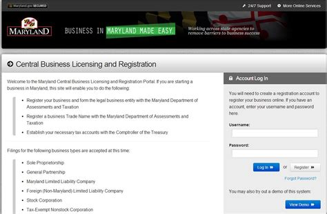 registering a business in maryland maryland department
