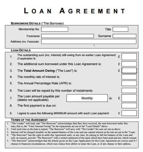 loan form template sle loan agreement 10 free documents in pdf