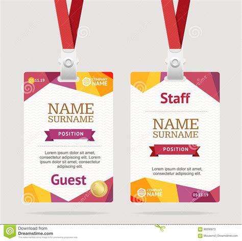 Guest Id Card Set Vector Design Illustration Cartoon Vector Cartoondealer Com 79588145 Volunteer Badge Template