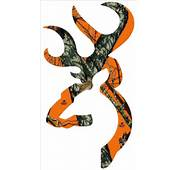 Browning Style Buck Realtree Orange Camo Camouflage Hunting Sticker