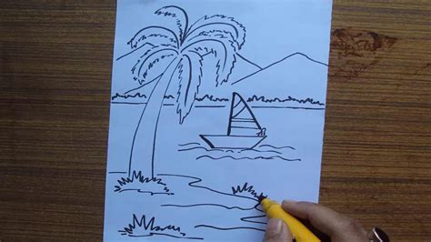 how to draw a scenery boat in river drawn boat scenery pencil and in color drawn boat scenery