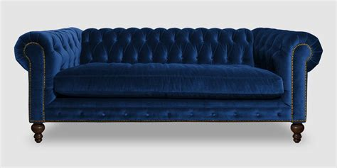 Velour Chesterfield Sofa Modern Handmade 3 Seater Slate Blue Velvet Chesterfield Sofa