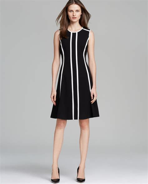 calvin klein dress pinstriped fit and flare in black lyst