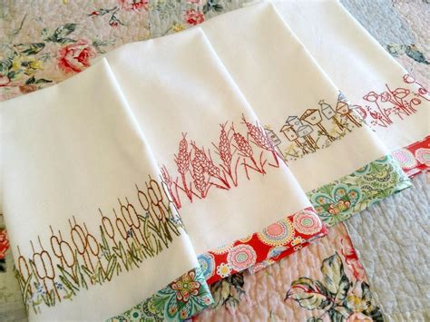 Embroidery Designs For Kitchen Towels You To See Redwork Kitchen Towels Embroidery By Countrygarden