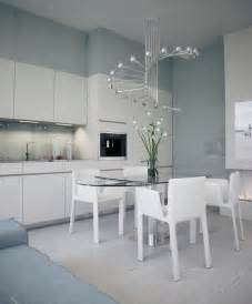 alexander lysak visualization open plan kitchen dining with modern chandelier interior design