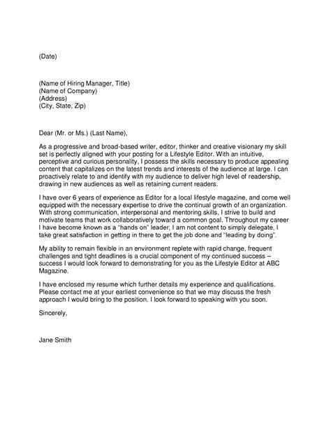 Magazine Editor Cover Letter by Writer Cover Letter