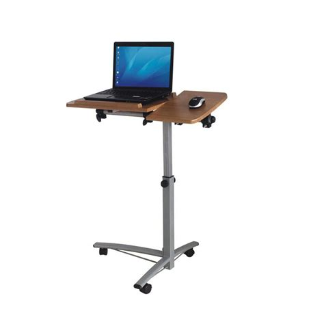 Ergonomic Laptop Stand For Desk Portable Standing Wooden Top Laptop Desk With Mouse Stand And Wheels Also Adjustable Height Of
