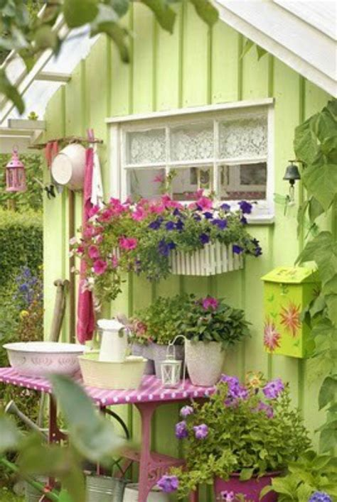 pretty garden cottage garden pinterest pretty green potting shed with window boxes love the color
