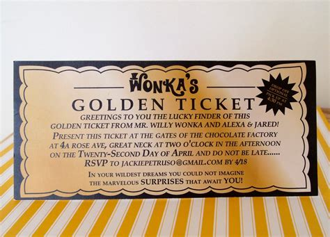 Golden Ticket Invitation Template willy wonka golden ticket invitation digital by sweetlex