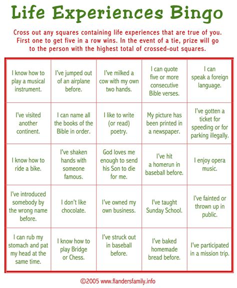 ice breaker bingo free printable the flanders family