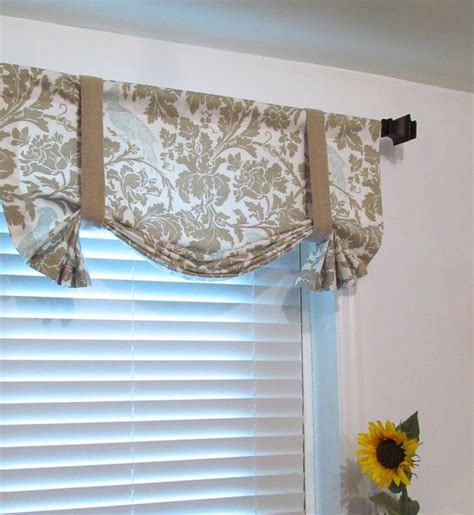 Handmade Window Treatments - tie up curtain valance barber taupe robin window