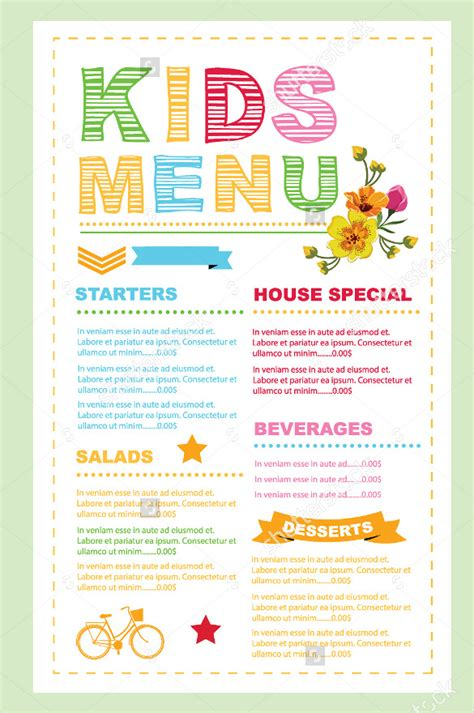 menu card template 45 menu card templates free sle exle format