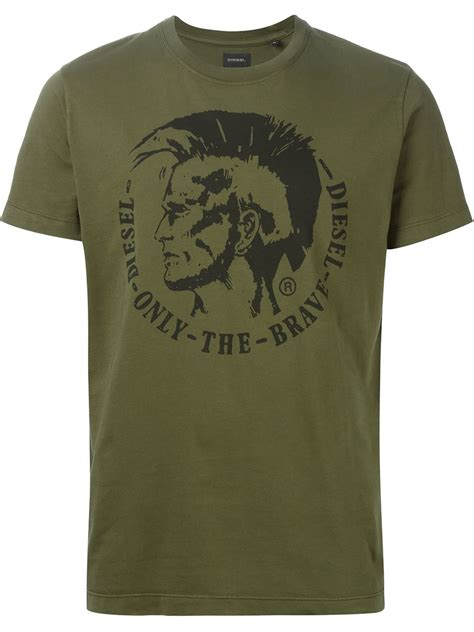 lyst diesel only the brave t shirt in green for
