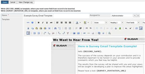Plug And Play Survey Engine For Sugarcrm Pro Survey Email Template