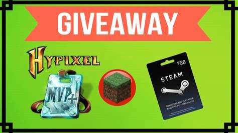 Minecraft Gift Card Giveaway - minecraft giveaway hypixel mvp rank steam 50 gift card youtube