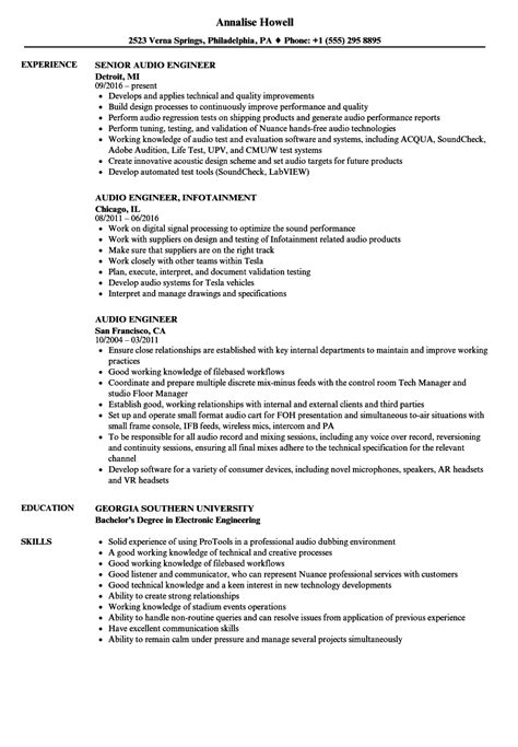 Audio Engineer Resume by Audio Engineer Resume Sles Velvet