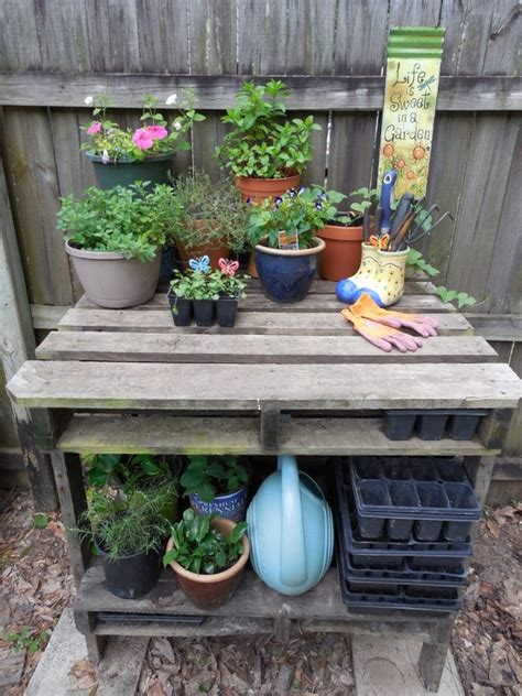 pallet potting bench pallet potting bench plans pallet wood projects