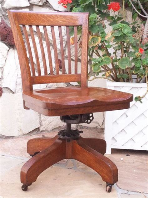 oak office chairs with casters antique bankers oak rolling desk chair 1920s wood casters