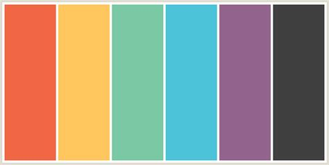 color themes colorcombo4291 with hex colors f16745 ffc65d 7bc8a4 4cc3d9 93648d 404040