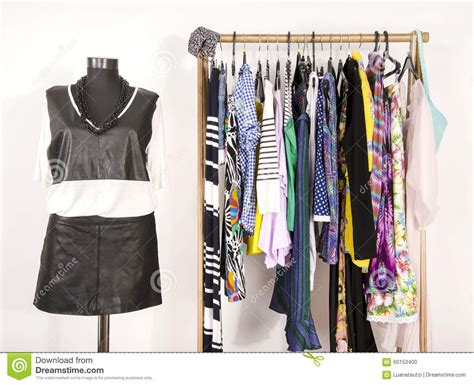 Colorful Closet by Dressing Closet With Colorful Clothes Arranged On Hangers