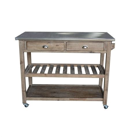 boraam sonoma wire brush finish kitchen cart 98520