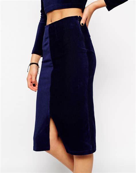 asos co ord velvet pencil skirt in blue lyst