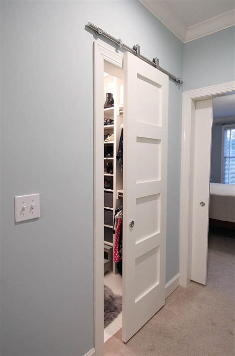 Modern Barn Doors An Easy Solution To Awkward Entries How To Build A Sliding Door Closet