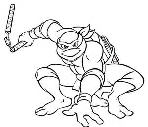 Michelangelo With Nunchaku Coloring Pages For Kids Print Or Download sketch template