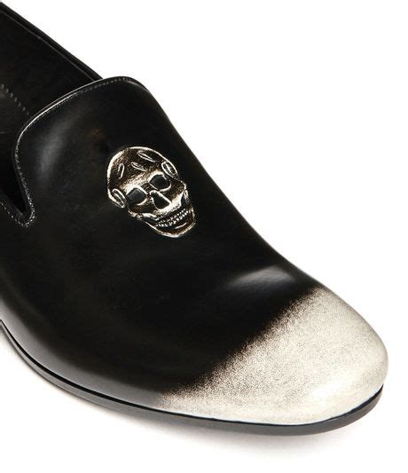 mens skull loafers mcqueen skull embossed burnished leather loafers