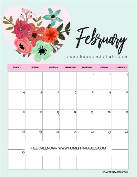 printable valentine calendar free february 2018 calendars home printables