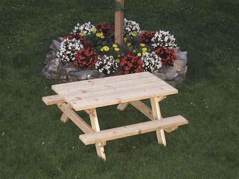 kids wooden picnic bench amish cedar wood kids picnic table