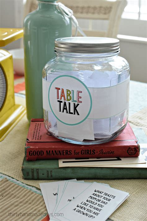 table talk with printable dinner conversation starters