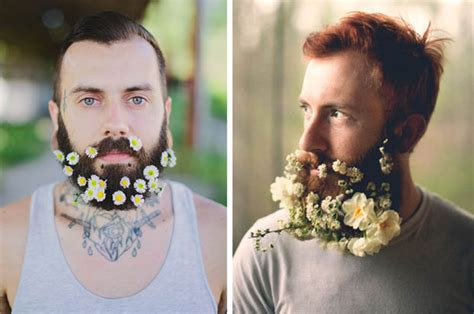 Guys Are Decorating Their Beards With Flowers To Celebrate | flower beards hipster men decorate facial hair with