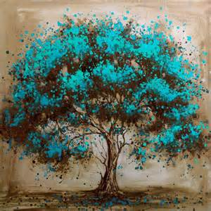 painting a mural on a wall with acrylic paint hand painted modern tree art decoration oil painting on