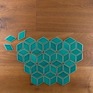 emerald diamond tiles set   escher pattern mosaic